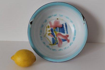 Vintage Chinese Enamel Wash Bowl - Floral Pattern - 50s
