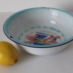 Vintage Chinese Enamel Wash Bowl - Floral Pattern - 50s..