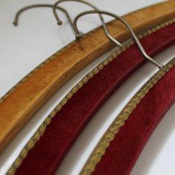 Vintage Clothes Wooden Hangers - Velvet Fabric - 60s - Set of 3.