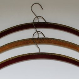 Vintage Clothes Wooden Hangers - Velvet Fabric - 60s - Set of 3..
