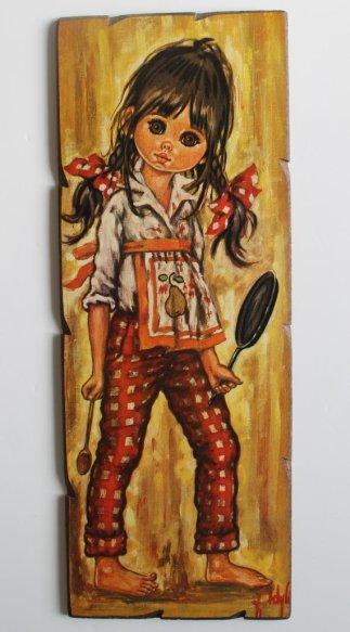 """★Tableau style """"POULBOT"""" signé F.Idylle - petite fille au tablier - 70s★40€ + fdp"""