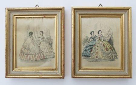 ★Lot de 2 anciens petits tableaux toile tissu - vintage★
