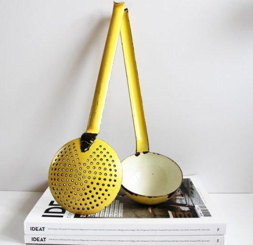 ★Ensemble louche+écumoir jaune émaillé vintage – 50s★