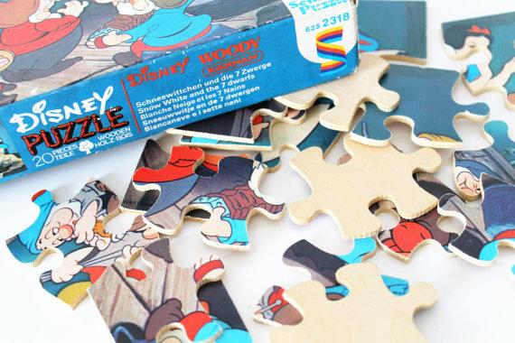 """Puzzle en bois """"Blanche-Neige et les Sept Nains"""" Walt Disney-70s★17€ + fdp"""