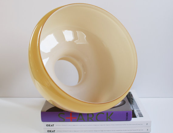 Abat-jour opaline vintage - jaune moutarde - 70s★45.40€ + fdp