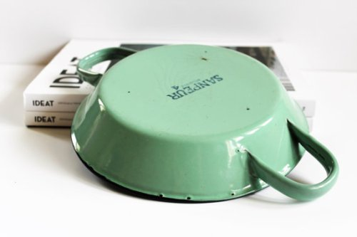 Vintage Belgian Enameled Dish With Handles-Cooking Plate-Enameled Pan