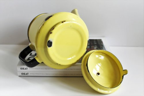 Vintage French Enamel TeaPot/Coffee Maker - 60s - Yellow