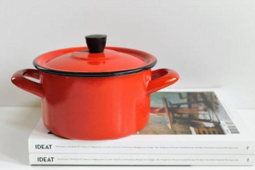 Vintage Enameled Pot - Cooking Pot With Lid - Enameled Pan - 50s