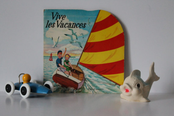 "Rare Vintage Children's Book - ""Vive les vacances"" - 60s - Ted Mathijsen Illustrations- Claude Lanssade"