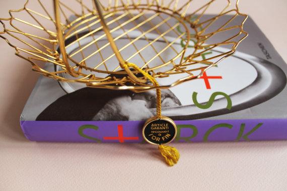 ★Panier Vintage en métal recouvert à l'or fin - ERDECOR/ERCAUT - 60s★33.65€ + fdp