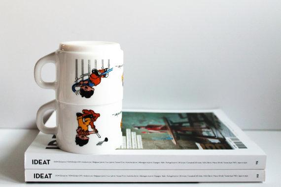 ★Ensemble de 2 tasses à café ARCOPAL- Modèle HARIBO -70s★12.80€ + fdp