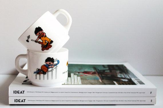 ★Ensemble de 2 tasses à café ARCOPAL- Modèle HARIBO -70s★13.25€ + fdp