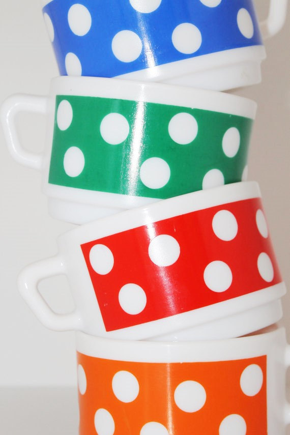 4 tasses ARCOPAL vintage - 70s★Adopté…SOLD OUT!★