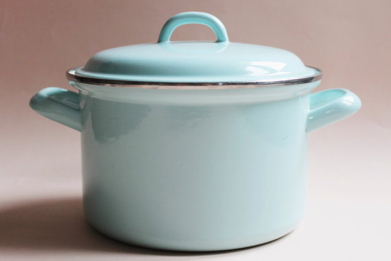 Vintage Enamel Cooking Pot With Lid