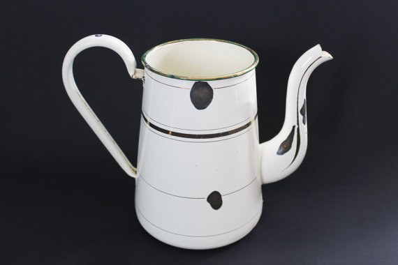 Vintage French Enamel TeaPot/Coffee Maker-30s