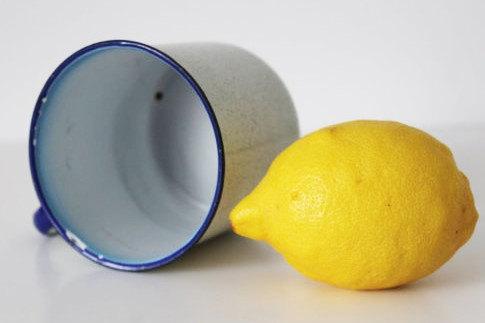 "Vintage Enamel Mug-Ø9.5 cm(3.74"")-White and Blue - 60s"