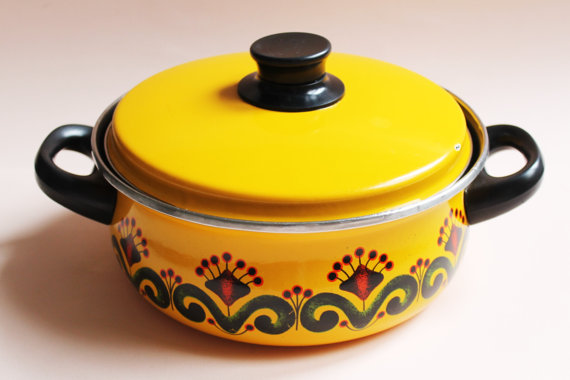 Vintage Enamel Cooking Pot With Lid-70s