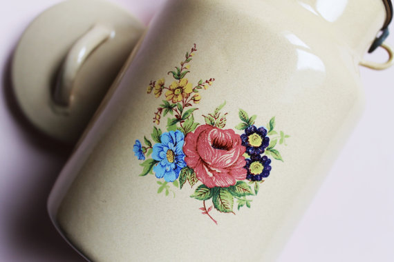 Vintage Enamel Milk Can-French Rustic Milk Jug-70s