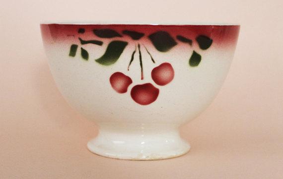 Large Antique Café Au Lait Bowl-Cherry Pattern-Cherry Blossom-50s