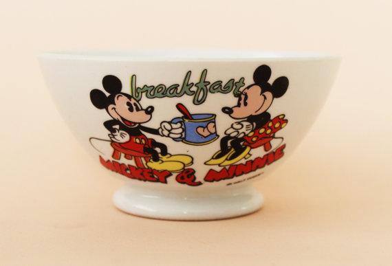 Rare Sarreguemines Vintage Café Au Lait Bowl-Disney-Mickey And Minnie-70s