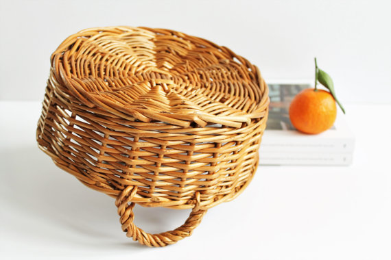 Small Vintage French Wicker Basket